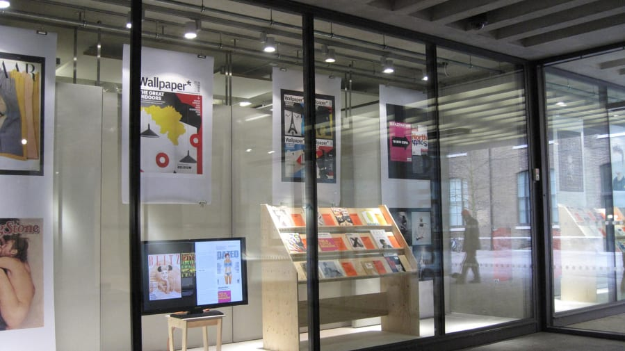 Exhibition on editorial design in the window galleries.