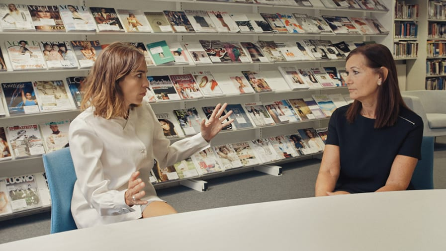 Dr Carolyn Mair talking to Alexa Chung for Vogue's The Future of Fashion series in LCF. Photo Credit: Vogue