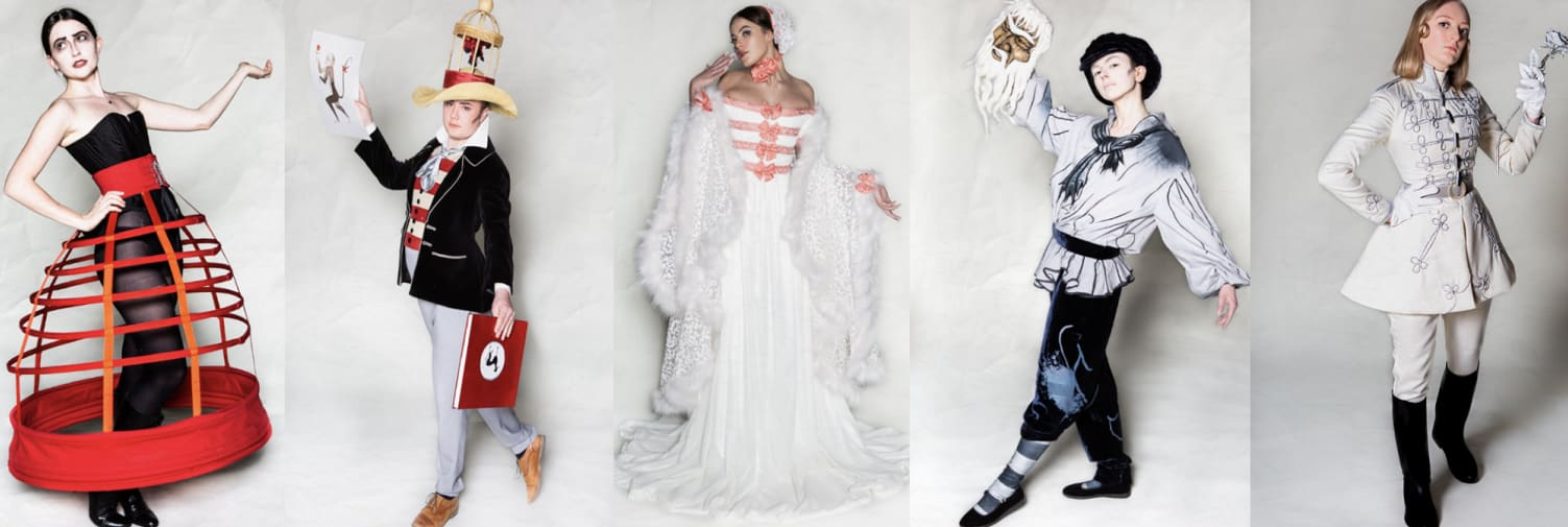 Designs by final year BA Costume Opera magazine banner