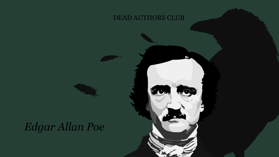 Front cover of zine featuring an illustration of Edgar Allan Poe in front of the silhouette of a magpie