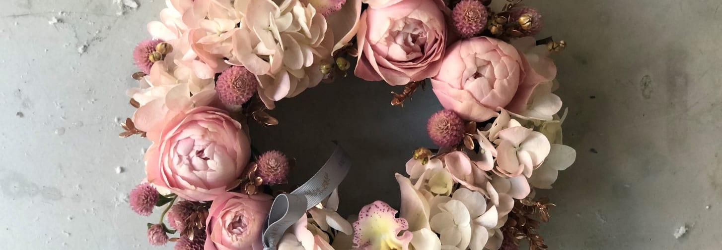 Pink flower garland