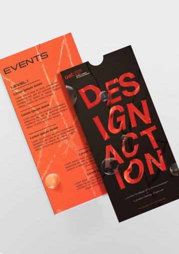 Scarlet and black concept art for LDF 2020 leaflets.
