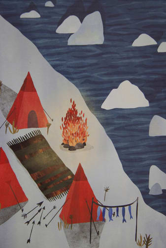 Painting of an arctic-type setting with tents and a fire on snow next to the sea which has lumps of ice