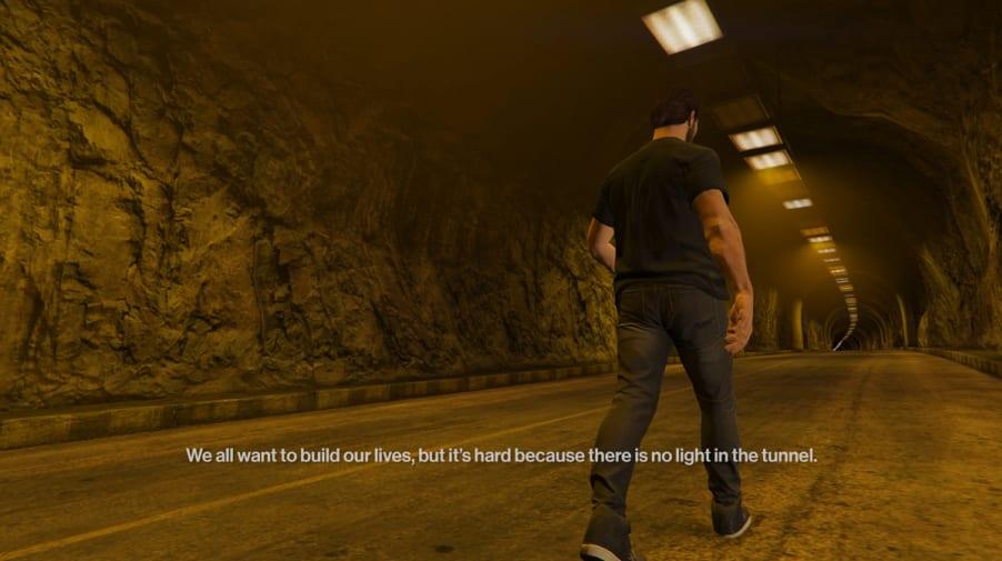 Animated man walking down dark tunnel