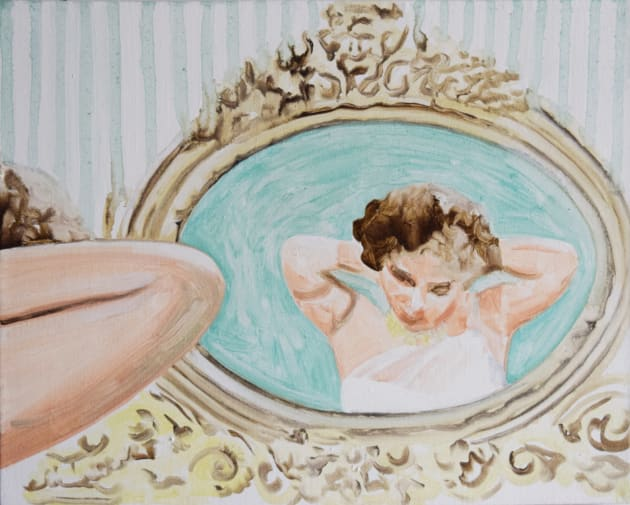 A painting of a woman's reflection in a mirror, getting dressed