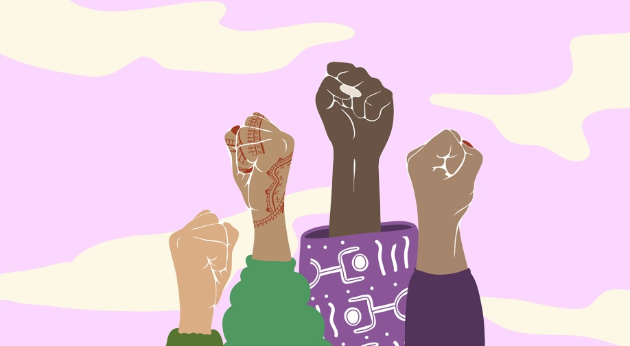 illustration of womens' hands in the air