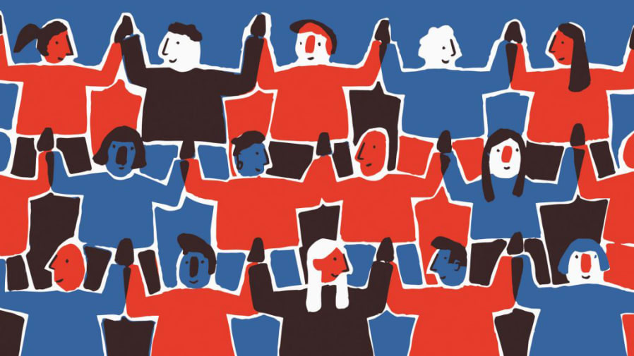 A red and blue graphic which illustrates figures holding hands, representing the theme of collaboration.