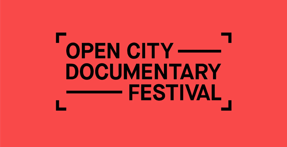 A red graphic which reads 'Open City Documentary Festival'.
