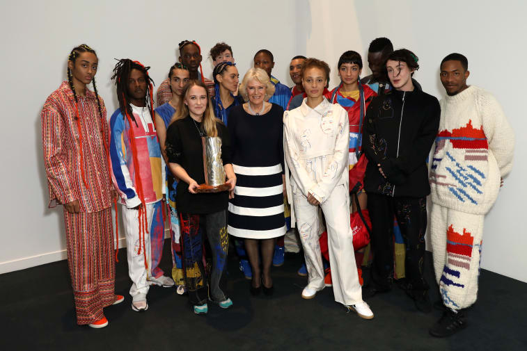 Bethany Williams, HRH The Duchess of Cornwall and models backstage