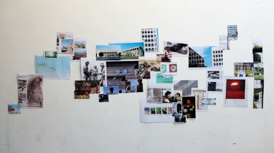 photographic collage on the wall