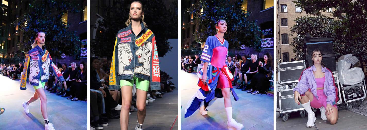 Models walking on catwalk wearing brightly coloured sportswear