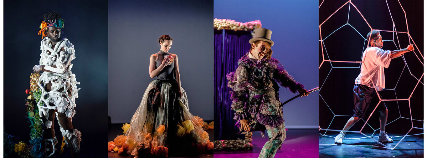 Various costumes designed by LCF students from MA Costume Design for Performance