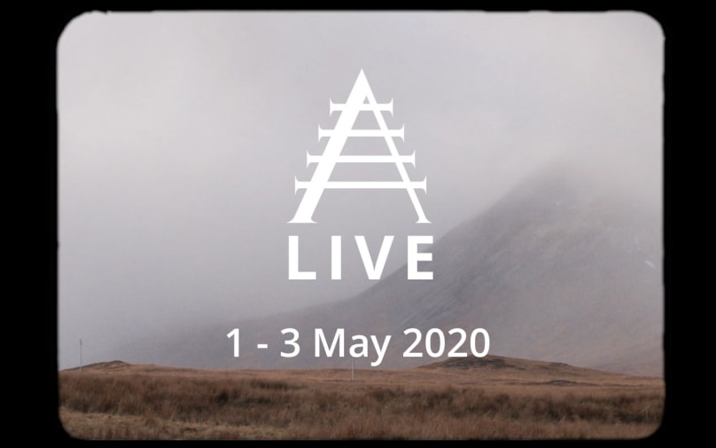 A promotional image for the Alchemy Film and Moving Image Festival, shot over the Scottish Highlands.