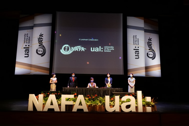 5 people on stage with NAFA and UAL logos in the fore and background
