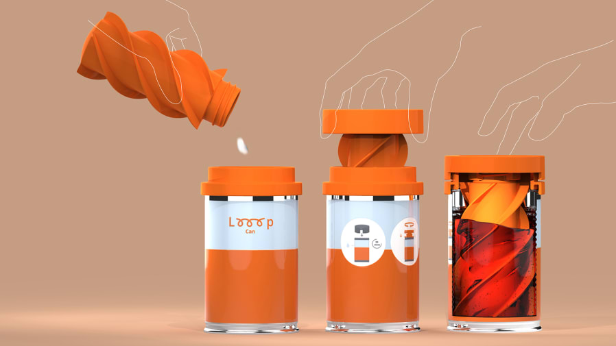 CAD image of three orange tins with liquid being poured in