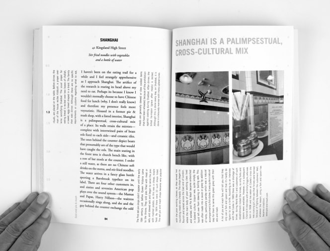 Open spread of Alison Barnes' book, showing a page of Alison's experiences of a restaurant with Chinese food called Shanghai