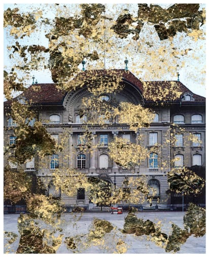 Photo of a historic building with gold layered over the image.