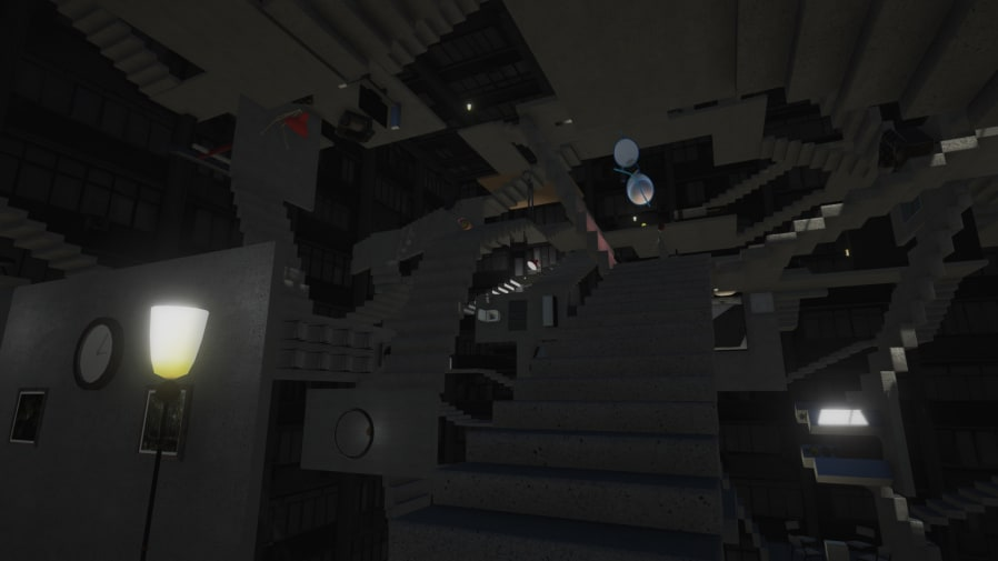 Digitally designed dark room with upside-down staircases and spectacles floating in the air.