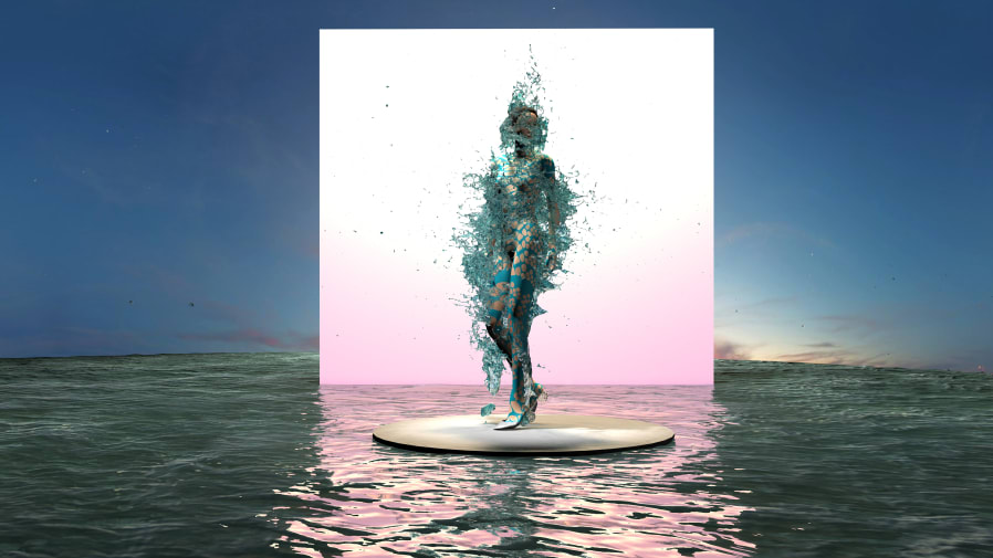 Digital image if figured wrapped in transparent material