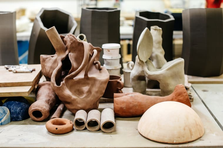 Shot of ceramic models made of clay in a studio