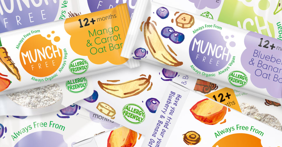 A promotional image of the Munch Free children's snack range.