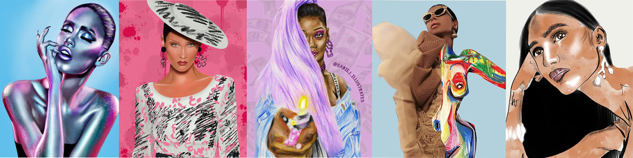 Compilation of five female fashion illustrations