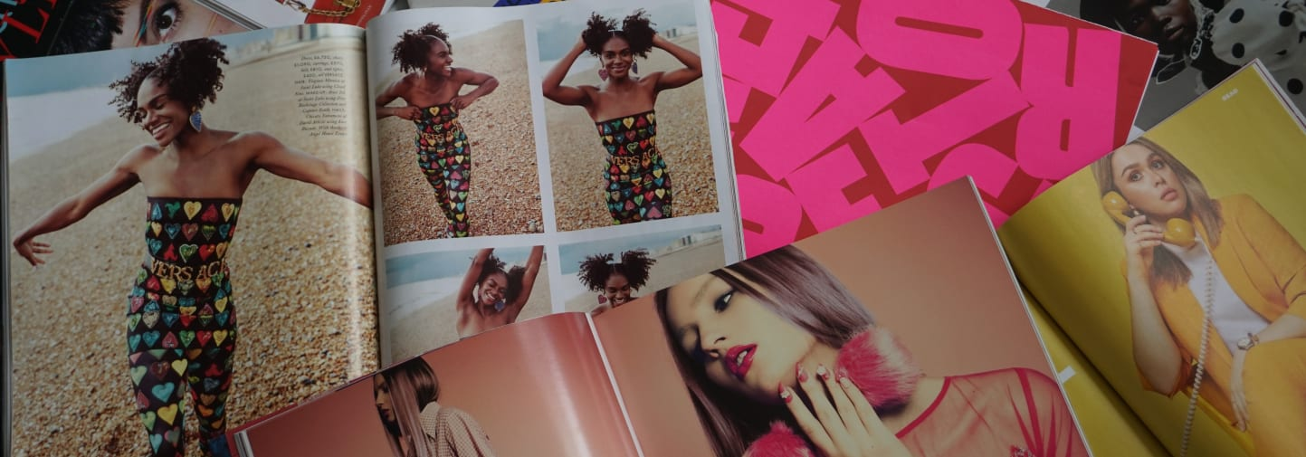 Collage with various fashion magazines