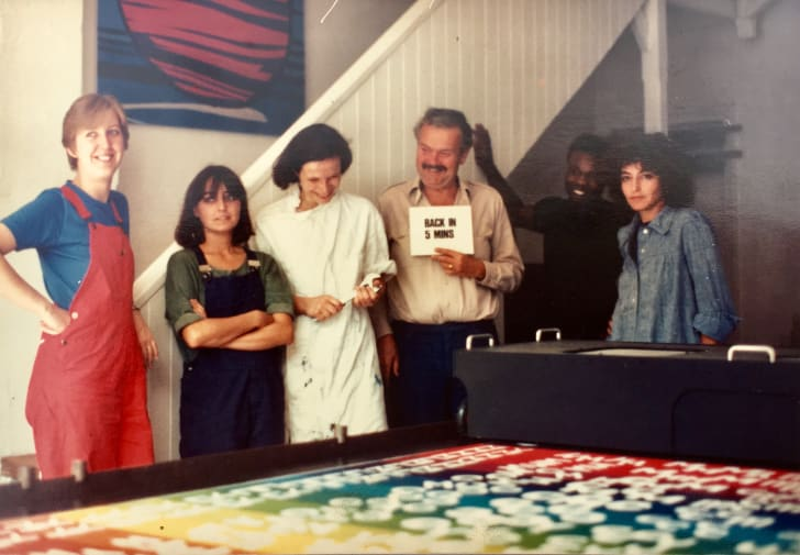 Group of textile artists in workshop in the 80s