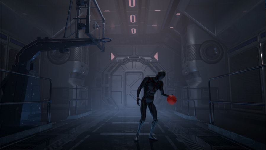 Computer animated cyborg character playing basketball in a futuristic metal room.