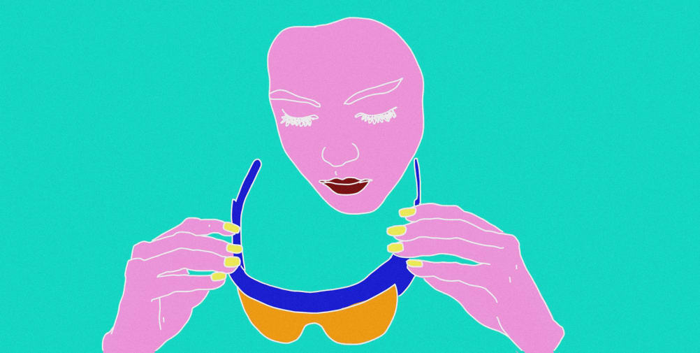 Colourful illustration of someone putting sun glasses on their face,