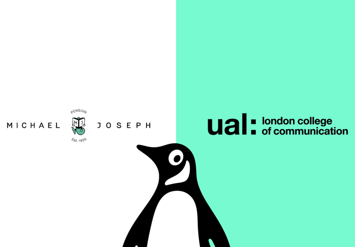 A banner featuring logos from Penguin Michael Joseph and London College of Communication.