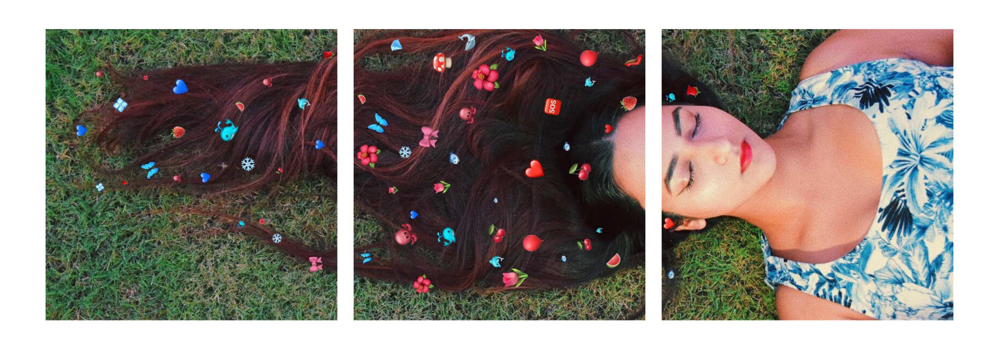 Girl laying on grass with flowers in her hair