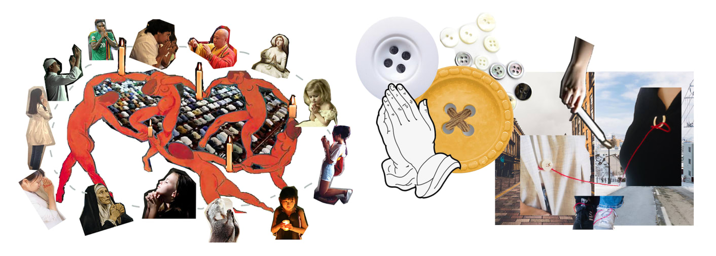 Illustrations and mood board of people praying