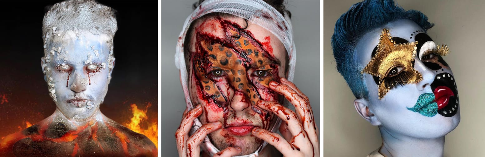 Three images of various makeup and prosthethic looks
