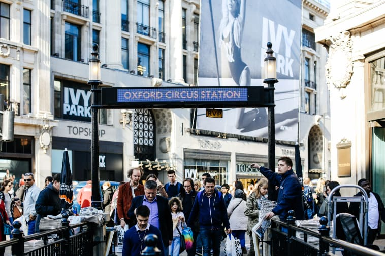 Oxford Circus tube station with Topshop in background