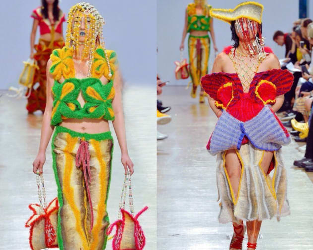 2 shots of colourful knitted and craft based fashion designs on models on a catwalk