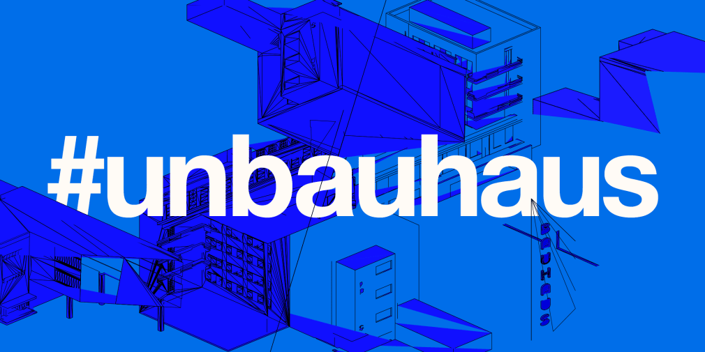 Blue graphic banner with building style silhouette design and the hashtag #unbauhaus
