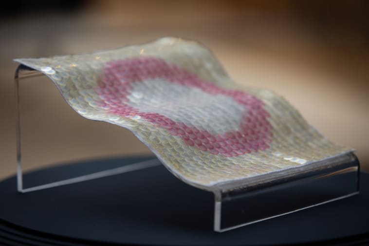 A patch of pink and transparent sequins