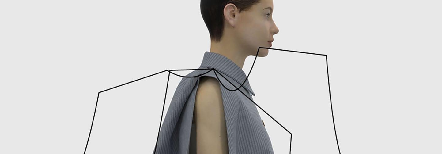Maria Calva Digital model with graphic dimensions around