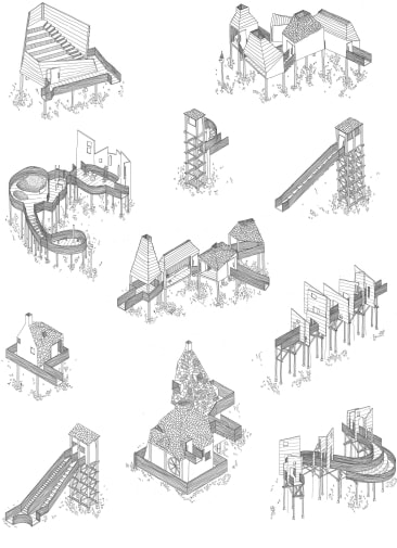 A series of illustrations of architectural proposition