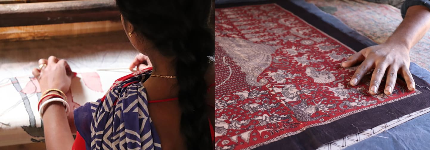 Women working with different textiles and different traditional methods