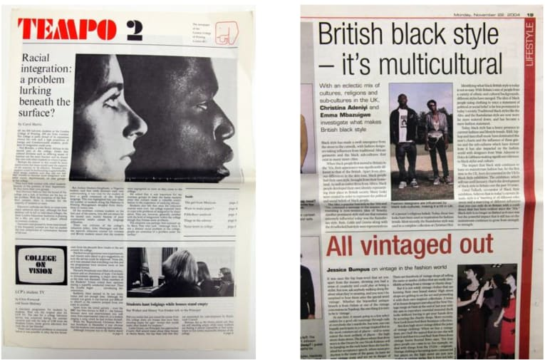 2 broadsheet newspaper pages side by side, with articles on Black style and culture and racial integration