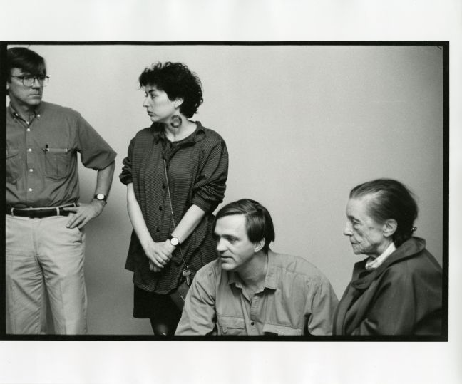 Robert Storr with Louise Bourgeois installing DISLOCATIONS at MoMA 1992. Photograph courtesy of Robert Storr, 2013