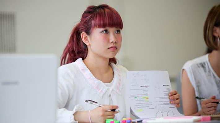 Student taking a Progress test
