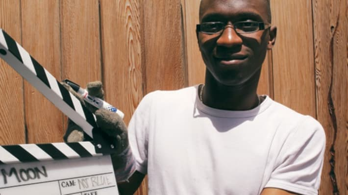 LCC film student with clapper board
