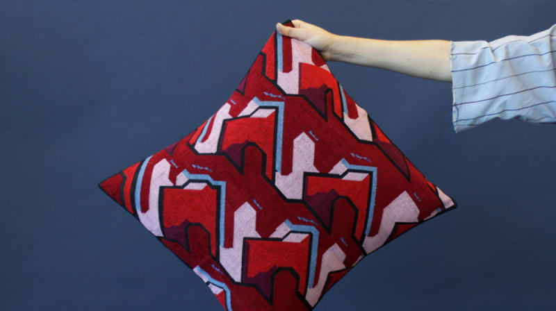 Hand holding a red patterned cushion