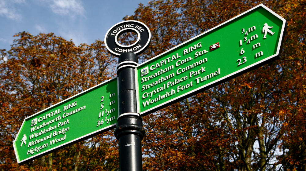 Sign post in Tooting Bec Common