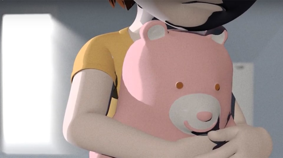 A child's figure cradles a pink teddy bear.