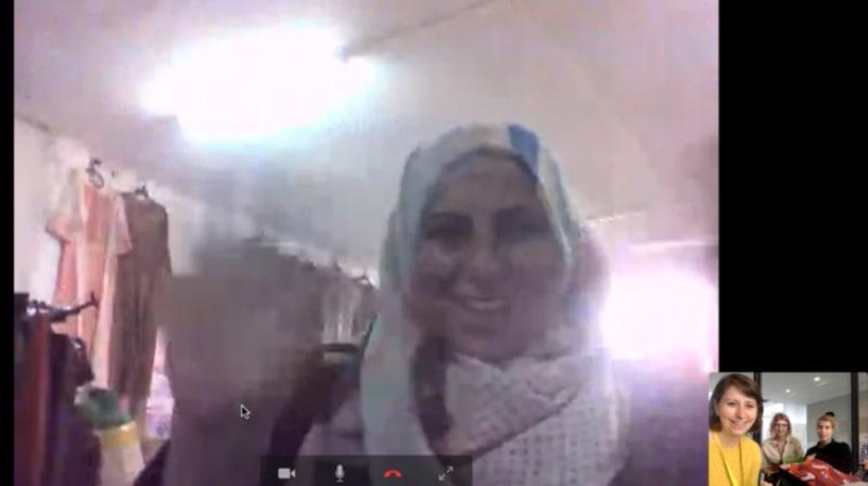 Screenshot of a woman on a Skype call