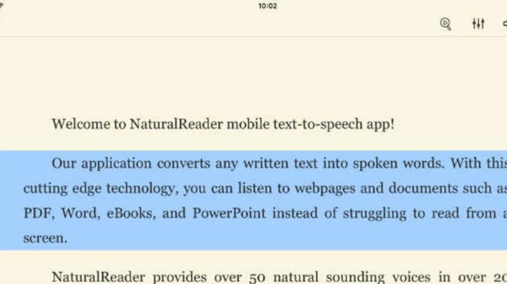 Screenshot of the Natural Reader screen reader app